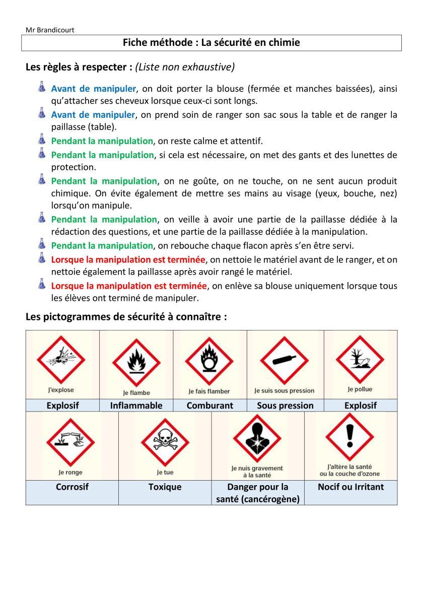 Fiche méthode-La sécurité en chimie